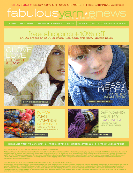 Fabulous Yarn email marketing Designs